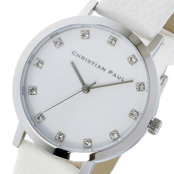 クリスチャンポール CHRISTIAN PAUL 腕時計 レディース レザー シルバー×ホワイト HAYMAN LUXE 35mm
