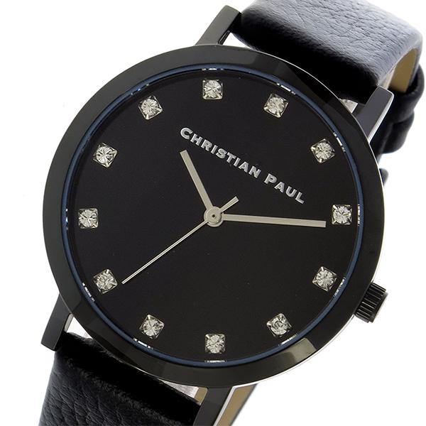 クリスチャンポール CHRISTIAN PAUL 腕時計 レディース レザー ブラック THE STRAND LUXE 35mm