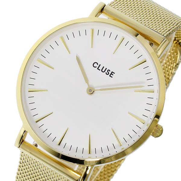 クルース CLUSE 腕時計 レディース メッシュベルト ゴールド×ホワイト 38mm ラボエーム