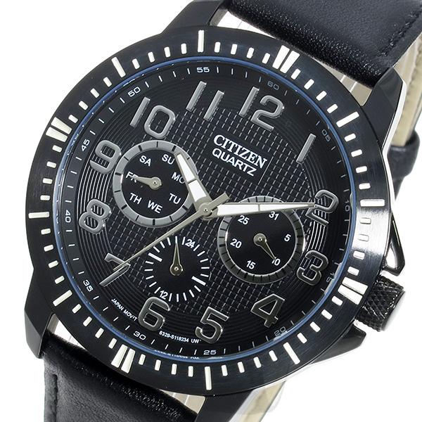 シチズン CITIZEN 腕時計 メンズ レザー ブラック