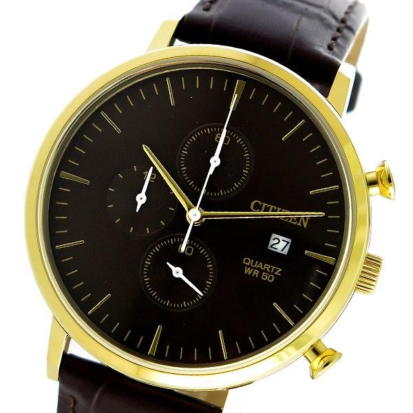 シチズン CITIZEN 腕時計 メンズ クロノグラフ レザー ブラウン