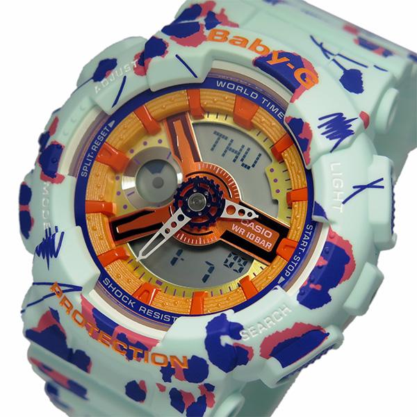 カシオ CASIO 腕時計 レディース グリーン BABY-G フラワーレオパードシリーズ