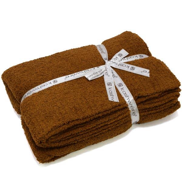 カシウエア kashwere シングルブランケット ブラウン Throw Solid Blankets