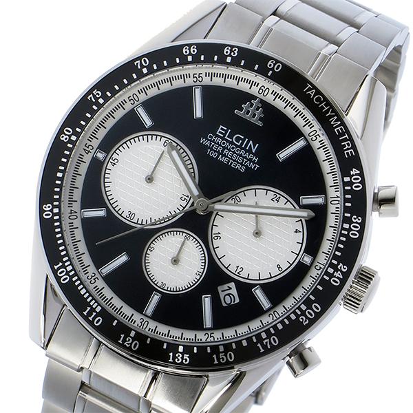 エルジン ELGIN 腕時計 メンズ クロノグラフ 100m防水 ブラック