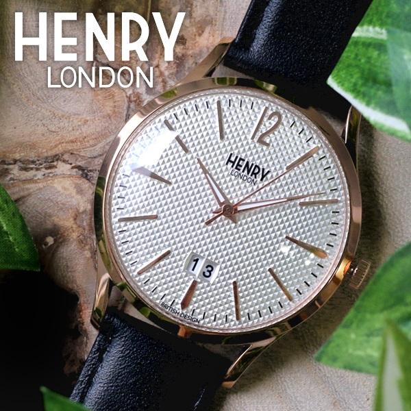 ヘンリーロンドン HENRY LONDON 腕時計 メンズ レディース ユニセックス レザー ホワイト×ブラック リッチモンド 41mm