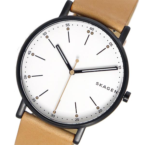 スカーゲン SKAGEN 腕時計 メンズ レザー ホワイト シグネチャー SIGNATUR