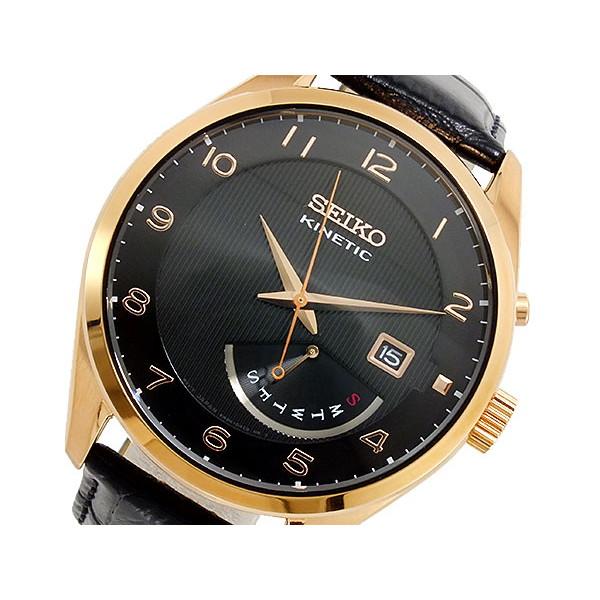 セイコー SEIKO 腕時計 メンズ 自動巻き レザー ブラック キネティック KINETIC