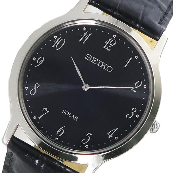 セイコー SEIKO 腕時計 メンズ レザー ソーラー ダークブルー