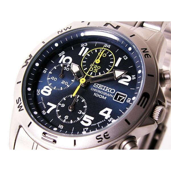 セイコー SEIKO 腕時計 メンズ クロノグラフ ネイビー×シルバー