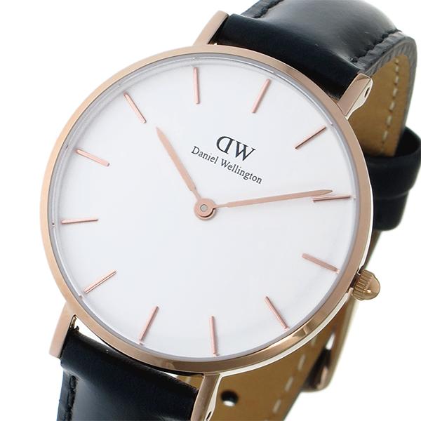 ダニエルウェリントン DanielWellington 腕時計 レディース レザー ホワイト/ローズゴールド/ブラック クラシック ペティート シェフィールド ホワイト 32mm