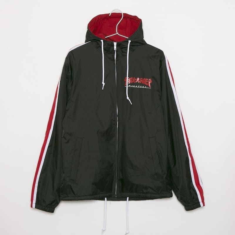 スラッシャー THRASHER ナイロンパーカージャケット ナイロンジャケット トラックジャケット メンズ サイドライン ブラック Lサイズ