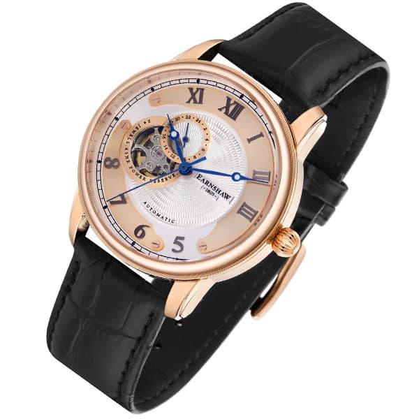 アーンショウ EARNSHAW 腕時計 メンズ 自動巻き アナログ表示 レザー