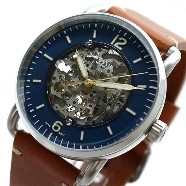 【新品】 フォッシル ブルー FOSSIL ブラウン 腕時計 フォッシル メンズ 自動巻き ブルー ブラウン, 安心安全のがんばる館:e8d2deb5 --- rishitms.com
