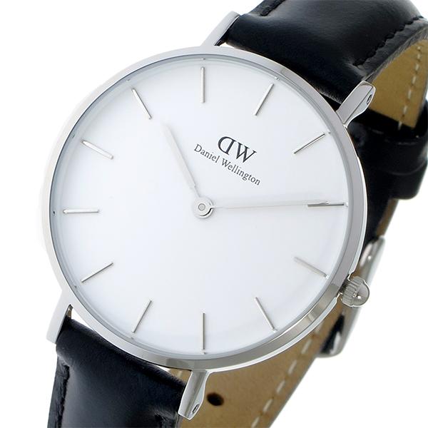 ダニエルウェリントン DanielWellington 腕時計 レディース レザー ホワイト/シルバー/ブラック クラシック ペティート シェフィールド ホワイト 32mm