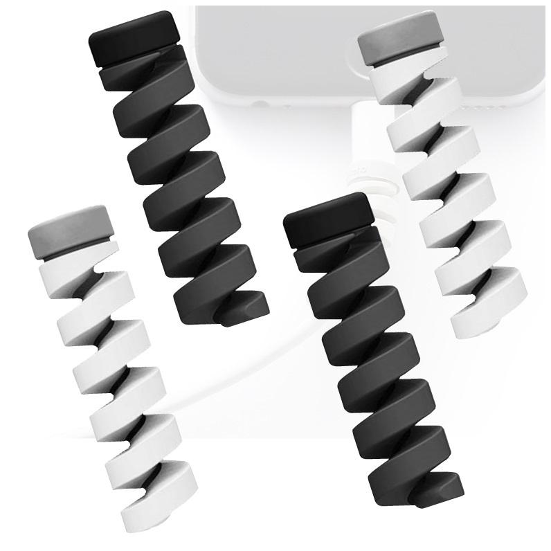 ケーブル保護に最適 ライトニングケーブルバイト 爆買いセール iPhone 低価格 ケーブルLightningケーブル 断線防止 ケーブルガード プロテクター グレー 保護 ツイスト ブラック 4個セット