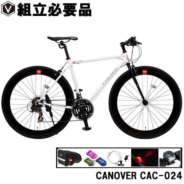 クロスバイク 700c(約27インチ)【豪華パーツ5点セット】自転車 ストリート系 クロス バイク 超軽量 クロモリフレーム シマノ21段変速 60mmディープリム CANOVER カノーバー CAC-024 HEBE ヘーべー