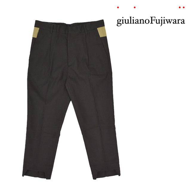 【送料無料】giulianoFujiwara/ジュリアーノフジワラ バイカラースラックスパンツ メンズ ブラック 黒 おしゃれ
