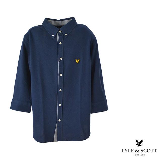 【送料無料】Lyle&Scott / ライルアンドスコット 七分シャツ メンズ 夏 ボタン コットン 襟 ネイビー 無地 7分袖