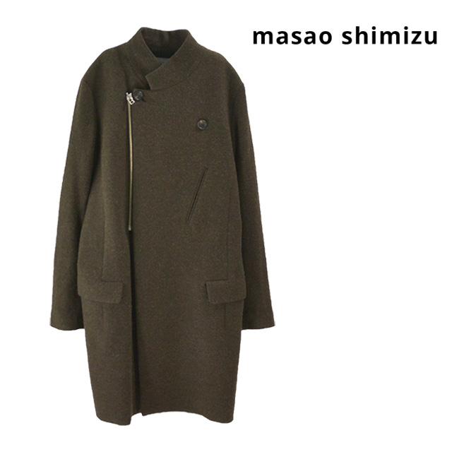 【送料無料】masao shimizu/マサオシミズ フラップダブルコート ロングコート メンズ 大きいサイズ ダブル 無地 ウール シンプル 秋 冬