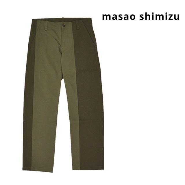 【送料無料】masao shimizu/マサオ シミズ バイカラーパンツ メンズ カーキ 無地 綿 コットン100% ポケット ライン 秋冬