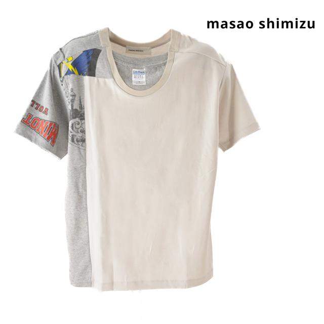 【送料無料】masao shimizu / マサオ シミズ Tシャツ トップス 再構築Tシャツ メンズ レディース ユニセックス 半袖 グレー 無地 プリント コットン