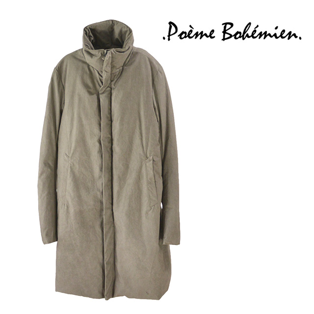 【送料無料】Poeme Bohemien/ポエムボヘミアン ロングダウンコート メンズ アウター グレー 無地 綿 コットン100% ロング 秋冬