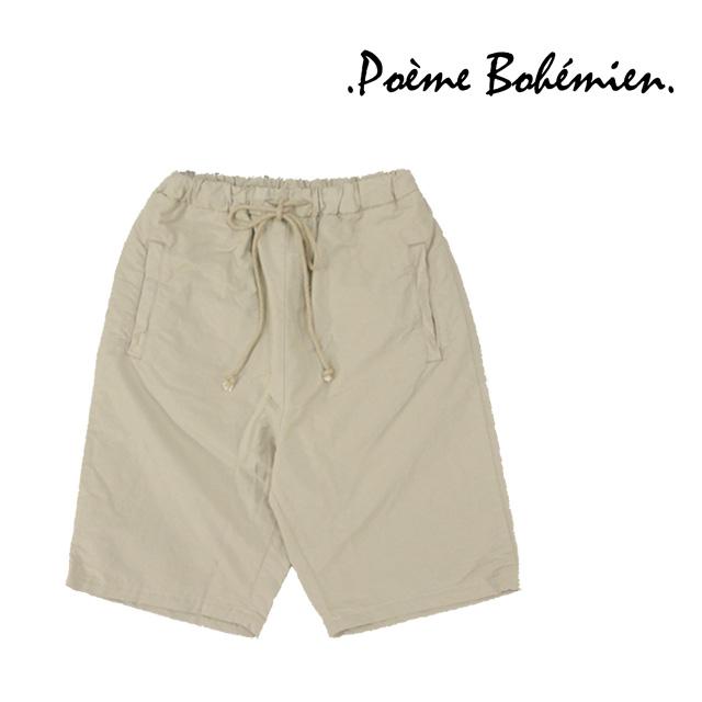 【送料無料】Poeme Bohemien/ポエムボヘミアン ウエストゴムハーフパンツ メンズ グレー 無地 綿 コットン ウエストゴム ポケット スポーツ
