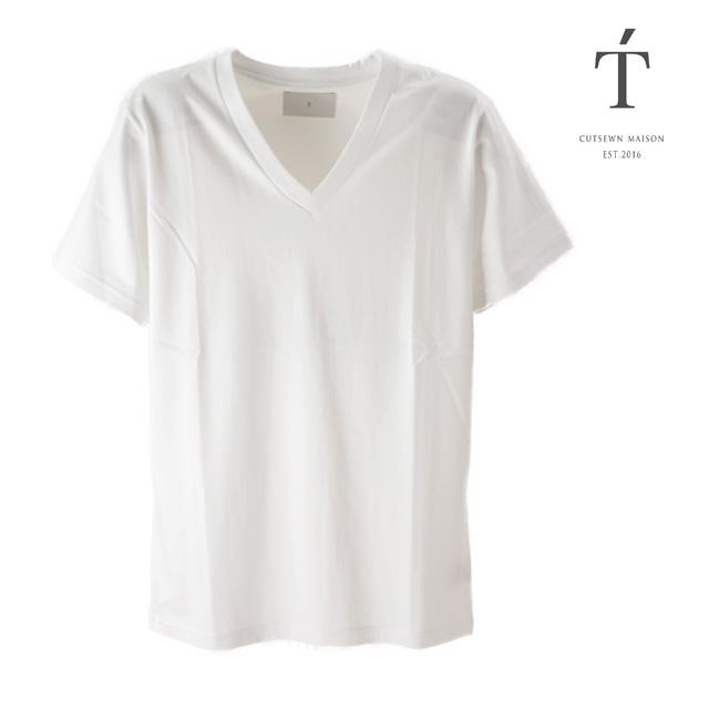 T' / ティ Tシャツ トップス カットソー Vee Neck Short Sleeve BASIC メンズ 半袖 ホワイト 白 無地 Vネック コットン おしゃれ 夏