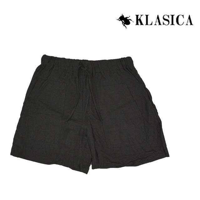 【送料無料】KLASICA/クラシカ リネンハーフパンツ メンズ ブラック 黒 無地 ショートパンツ ウエストゴム アウトドア 夏 麻 リネン