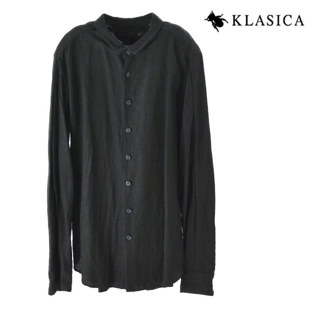 【送料無料】KLASIC / クラシカ リネンシャツ トップス Cut Off Stand Collar Shirt メンズ レディース ユニセックス 長袖 麻 ブラック ヴィンテージ