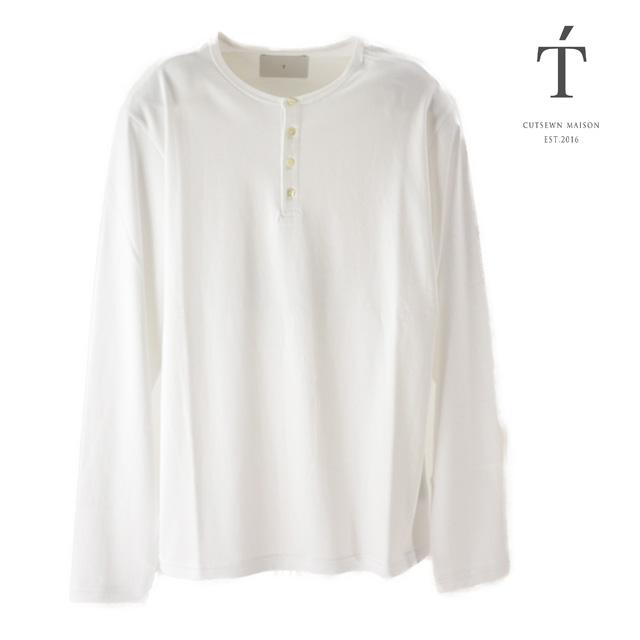 【送料無料】T' / ティ Tシャツ トップス Henley Neck Long Sleeve RELAX メンズ 長袖 ホワイトコットン ボタン ロンT