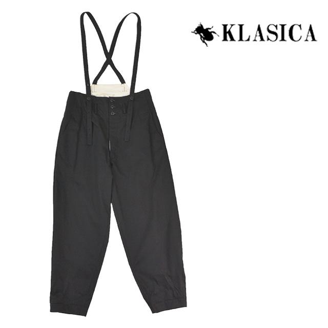 【送料無料】KLASICA/クラシカ サスペンダーパンツ メンズ ワイド 無地 ブラック 綿100% 秋冬