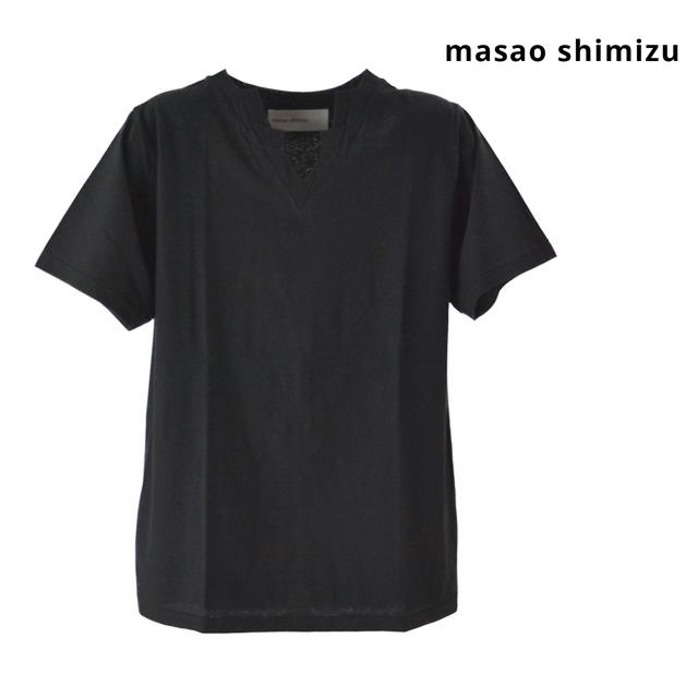 15:00までのご注文で即日配送 masao shimizu マサオ シミズ Tシャツ トップス スラッシュVネックTシャツ メンズ 新作アイテム毎日更新 無地 ユニセックス 半袖 レディース コットン 黒 Vネック ブラック 新色追加