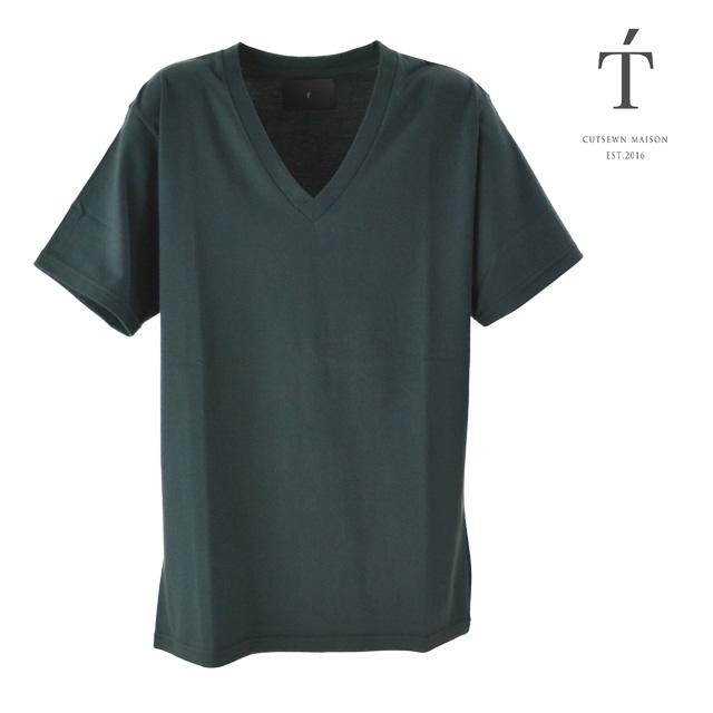 T' / ティ Tシャツ トップス カットソー Vee Neck Short Sleeve BASIC メンズ 半袖 グリーン 無地 Vネック コットン おしゃれ 夏
