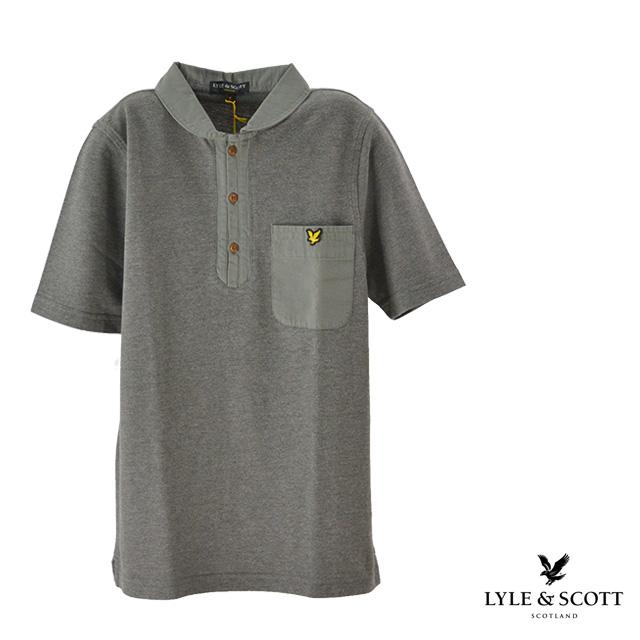 【送料無料】Lyle&Scott/ライルアンドスコット MNS SHAWL COLLAR POLO ワンポイントポロシャツ メンズ グレー 夏 コットン 半袖 襟 ポケット