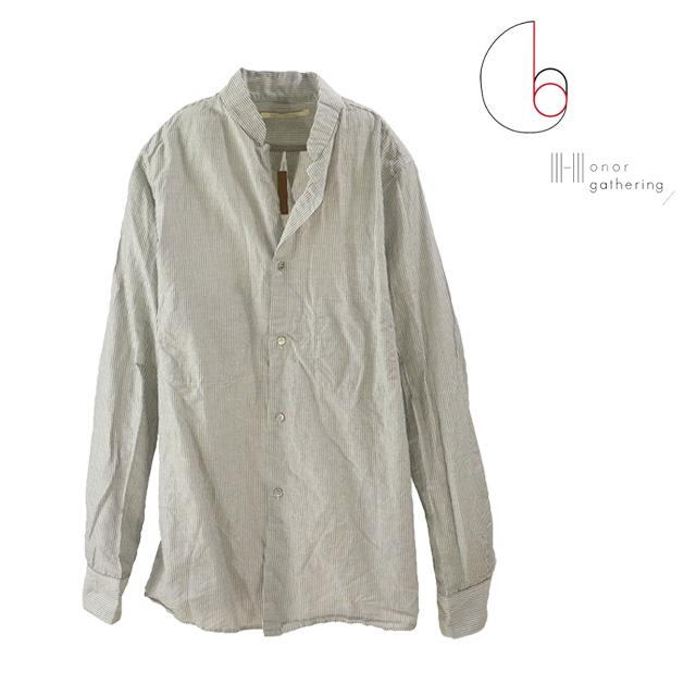 【送料無料】Honor gathering/オナーギャザリング ストライプシャツ メンズ シャツ ブラック 黒 グレー ポケット 綿 コットン 麻 天然素材 秋冬