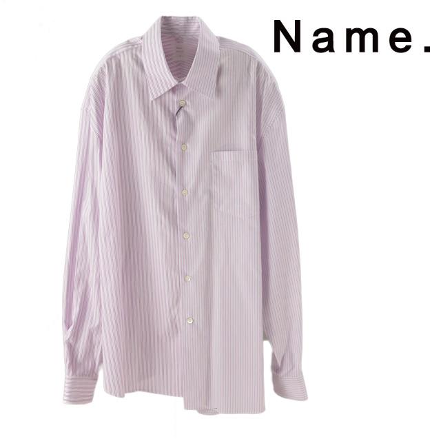 SALE NAME. ネーム ASYMMETRIC STRIPED SHIRT アシンメトリー ストライプ シャツ おすすめ特集 年間定番 メンズ 15:00までのご注文で即日配送 長袖 カジュアル 新作 Shirt 2019 ストリート