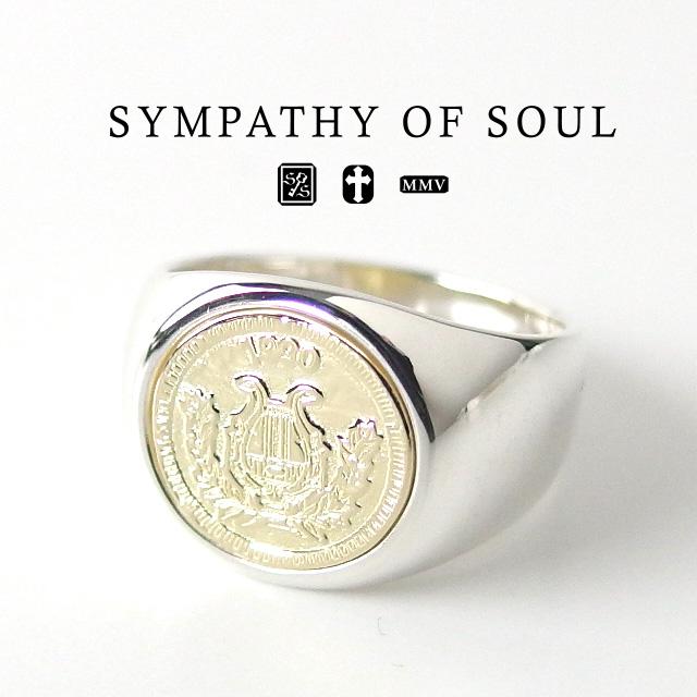 【15:00までのご注文で即日配送】 シンパシーオブソウル クラシック コインリング シルバー sympathy of soul Classic Coin Ring Good Luck Silver K18YG 指輪 メンズ レディース ユニセックス シンプル ギフト