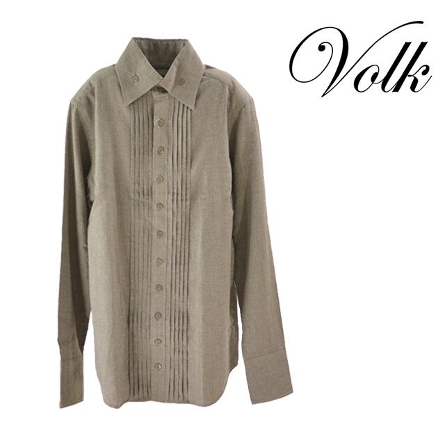 【送料無料】PARADI/パラディ 貴族的 BD Shirt プリーツシャツ メンズ トップス 長袖 グレー 無地 襟 ボタン ポケット ブランド コットン100% 綿