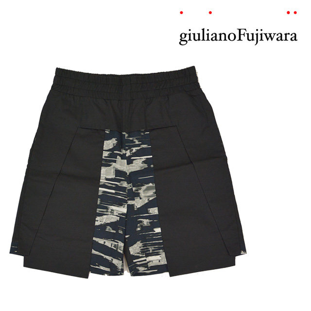【送料無料】giulianoFujiwara/ジュリアーノフジワラ バイカラーハーフパンツ メンズ ブラック 黒 夏 ウエストゴム ひざ丈 男の子 紐 コットン100% 綿