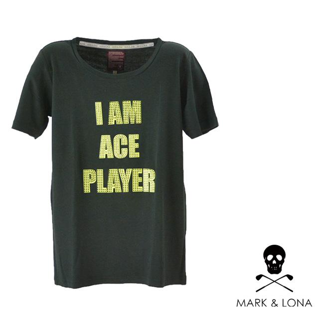 MARK&LONA/マークアンドロナ スワロフスキーロゴTシャツ メンズ トップス Tシャツ 半袖 ブラック 黒 イエロー デザイン コットン 綿 夏