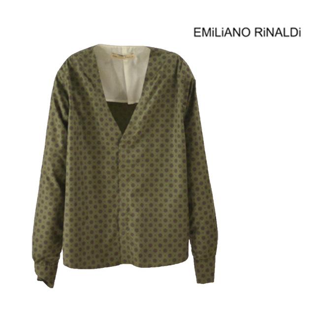 【送料無料】EMiLiANO RiNALDi/エミリアーノリナルディ V-NECK-SHIRT Vネックシャツ メンズ カーキ 柄 ドット 長袖