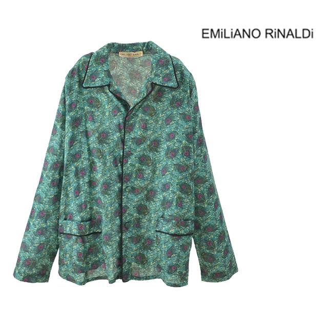 【送料無料】EMiLiANO RiNALDi/エミリアーノリナルディ BED SHIRT シャツ メンズ グリーン ピーコック 柄 襟 長袖 ポケット コットン100% 綿
