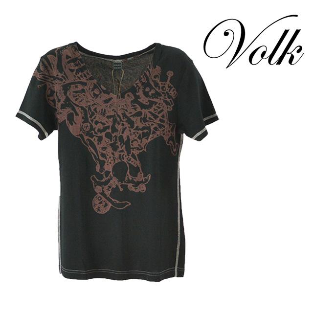 【送料無料】PARADI/パラディ 厄 VネックプリントTシャツ メンズ トップス Tシャツ 半袖 ブラック 黒 プリント コットン 綿 ライン デザイン 夏