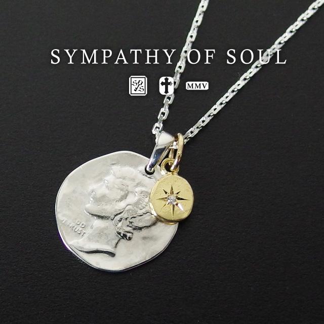 シンパシーオブソウル リバティーヘッド ネックレス sympathy of soul Liberty Head Necklace - Silver w/K18YG Glory Charm (シルバーネックレス K18 イエロー ゴールド メンズ レディース シンプル) プレゼント ギフト シンパシー オブ ソウル