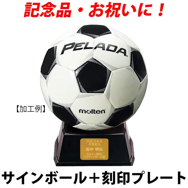 プレート付★モルテン サインボール サッカー セット 寄せ書き 記念品 ネームプレート サッカーボール F2P500 刻印 自由 ゴールド molten 1個から製作します