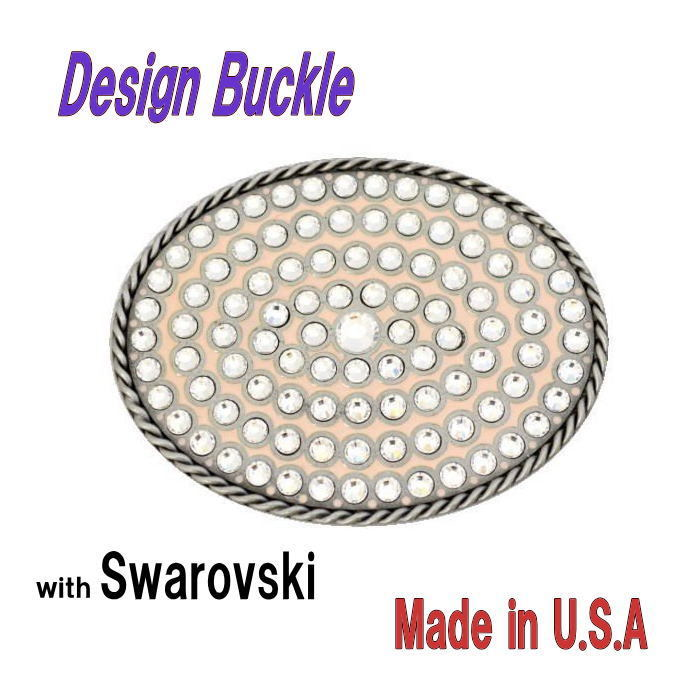 デザインバックル スワロフスキー オーバルバックル ピンク