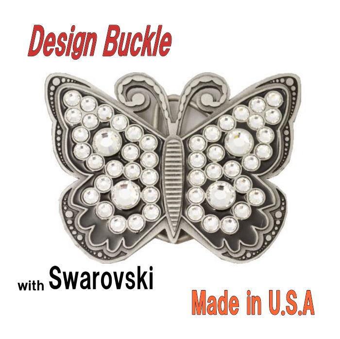 デザインバックル 蝶のスワロフスキーバックル バタフライ ブラック