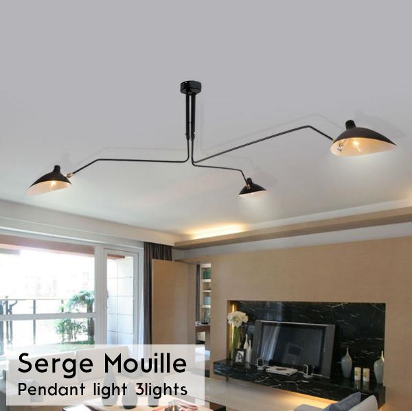 Serge Mouille セルジュ・ムーユ デザイナーズ照明 セルジュムーユ 吊り下げ照明 3アーム ロング 北欧デンマーク 男前 黒 12