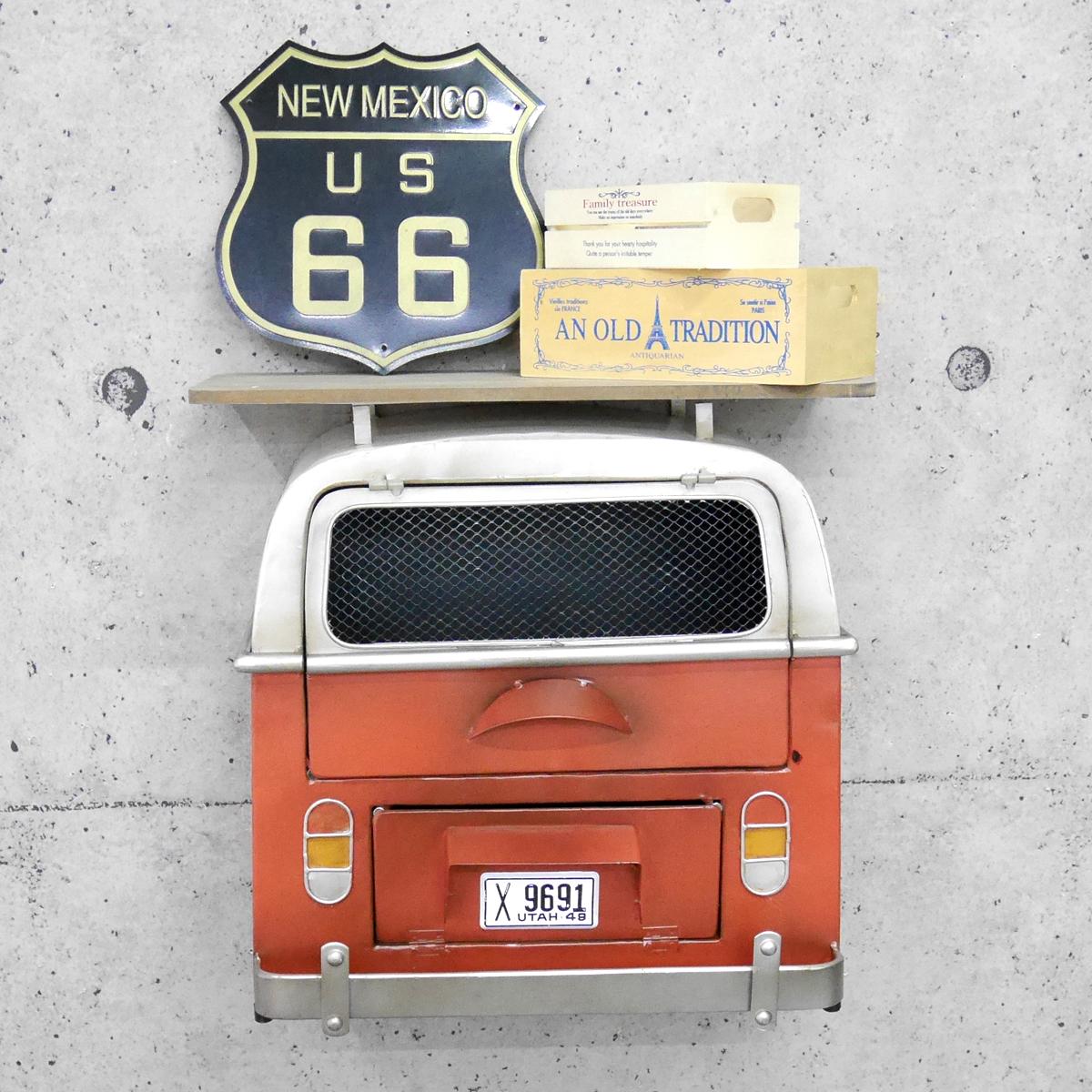 アメリカンレトロ ウォールシェルフ 壁掛 飾り棚 アメ車 ガレージ クラシックカー JEEP ジープ アメリカン雑貨 インテリア レッド 【BZ-92】